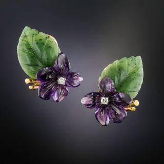 Vintage Amethyst, Nephrite and Diamond Flower Earrings by Birks - 1