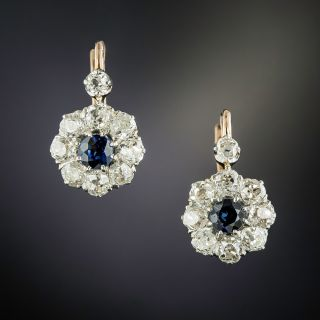 Antique Sapphire and Diamond Halo Earrings - 1