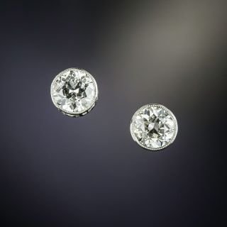 Vintage 1.20 Carat Diamond Stud Earrings - 1