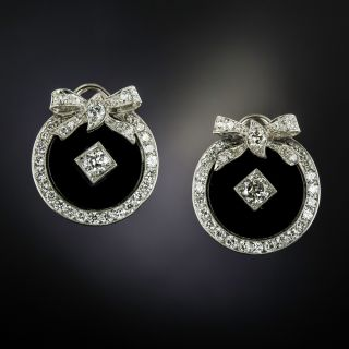 Art Deco Diamond and Onyx Wreath Earrings - 1