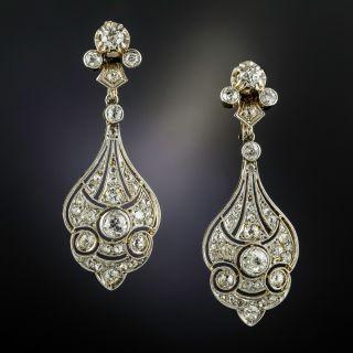 Edwardian Diamond Dangle Earrings - 1