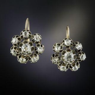 Victorian Large Diamond Cluster Earrings - 1