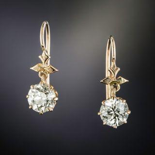 Victorian 2.02 Carat Total Weight Diamond Dangle Earrings - GIA - 1