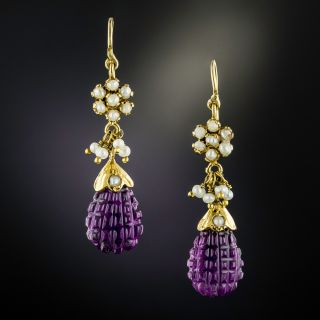 Victorian Carved Amethyst and Seed Pearl Dangle Earrings - 1