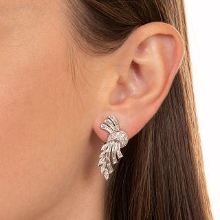 Mid-Century Platinum Diamond  Ear Clips