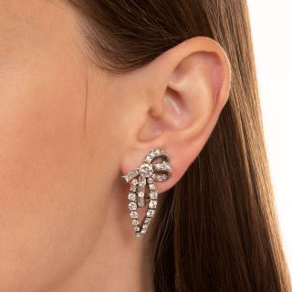 Mid-Century Platinum and Diamond Earclips