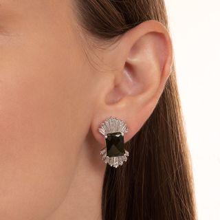 Estate Green Tourmaline and Diamond Earrings