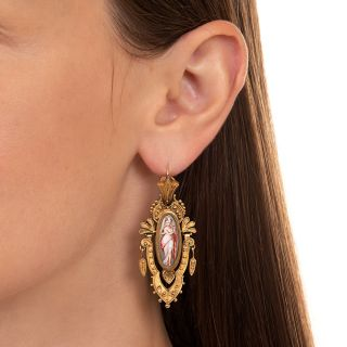 Etruscan Revival Enamel Earrings in 22 Carat Gold