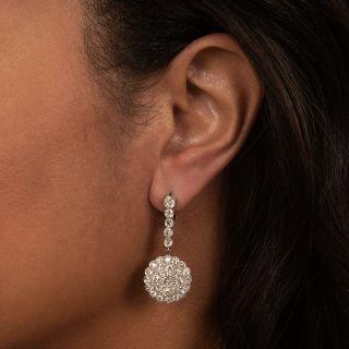Vintage Style Platinum and Diamond Drop Earrings
