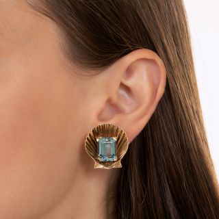 Mid-Century Aquamarine Shell Earrings