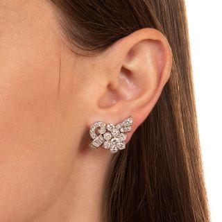 Mid-Century Diamond Platinum Clip Earrings