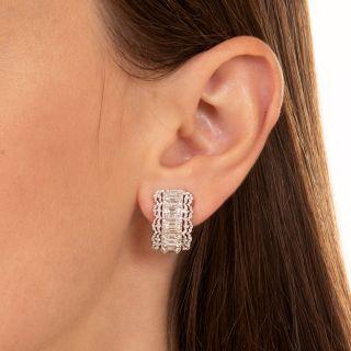 Emerald-Cut Diamond Hoop Earrings