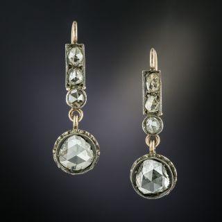 Victorian Rose-Cut Diamond Dangle Earrings - 0
