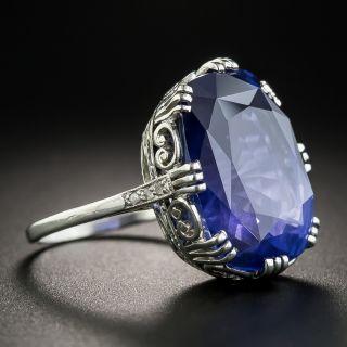20.61 Carat Natural No Heat Ceylon Sapphire Platinum Ring