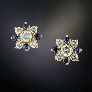 Estate Diamond and Sapphire Cluster Earrings - 1