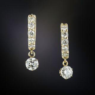 Diamond Half Hoops with Diamond Dangles - 1