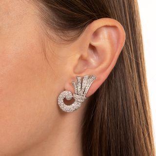 Mid-Century Diamond Cornucopia Clip Earrings