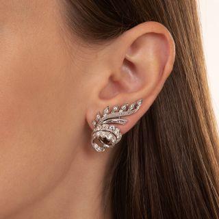French Diamond Ear Clips, Circa 1950's