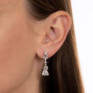 Art Deco Style Geometric Diamond Drop Earrings