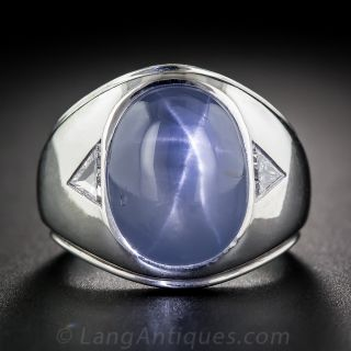 20 Carat Blue Star Sapphire Gent's Ring
