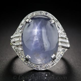 20 Carat Cabochon Sapphire Platinum Diamond Art Deco Ring