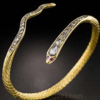 20K Gold Rose-Cut Diamond Snake Bangle