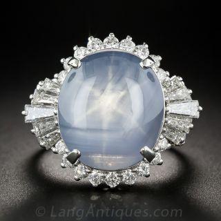 21.89 Carat Blue Star Sapphire Platinum and Diamond Cocktail Ring - 1