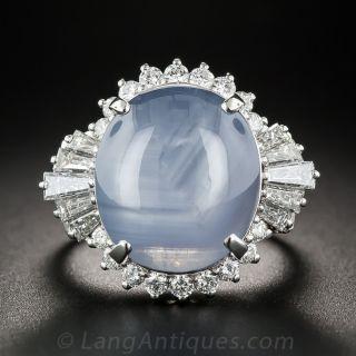 21.89 Carat Blue Star Sapphire Platinum and Diamond Cocktail Ring