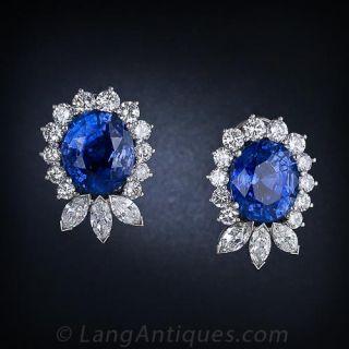 22.78 Carat Ceylon Sapphire and Diamond Earrings - 1