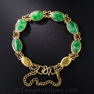 22 Karat Gold Jade Bracelet