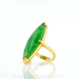 22 Karat Yellow Gold Jade Ring
