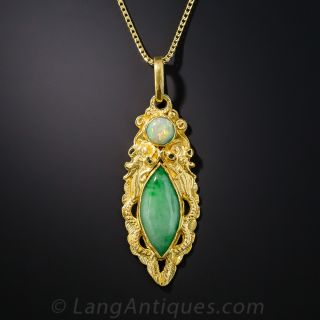 22K Chinese Dragon Pendant with Natural Jadeite and Opal