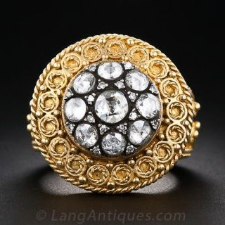 22k Gold and Rose-Cut Diamond Ring