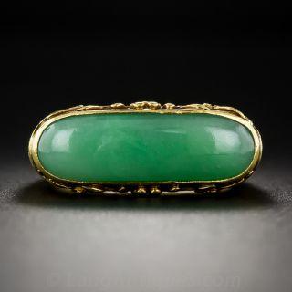 22K Natural Burmese Jadeite Saddle Ring