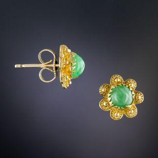 22K Small Natural Jadeite Ear Studs
