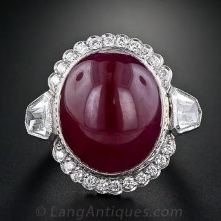 26 plus Carat Oval Cabochon Ruby and Diamond Ring - 1