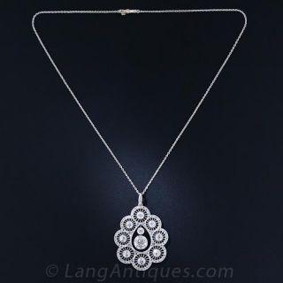 3.00 Carat Center Edwardian Diamond Pendant Necklace