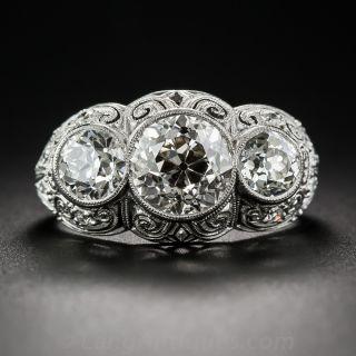3.00 Carat Edwardian Platinum and Diamond Three-Stone Ring - 2