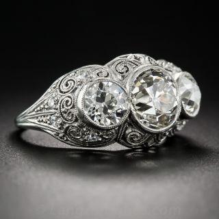 3.00 Carat Edwardian Platinum and Diamond Three-Stone Ring
