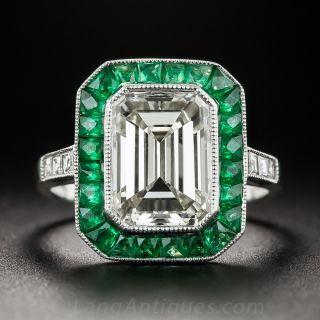 3.00 Carat Emerald-Cut Diamond and Emerald Ring - 1