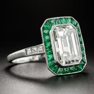 3.00 Carat Emerald-Cut Diamond and Emerald Ring