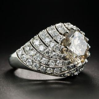 3.00 Carat Natural Brown Diamond Platinum Ring