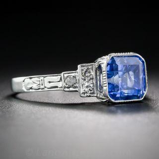 3.01 Carat No Heat Ceylon Sapphire Art Deco Ring