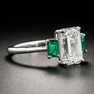 3.01 Emerald-Cut Diamond and Emerald Ring - GIA H VS2