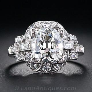 3.03 Carat Cushion-Cut Art Deco Diamond Engagement Ring