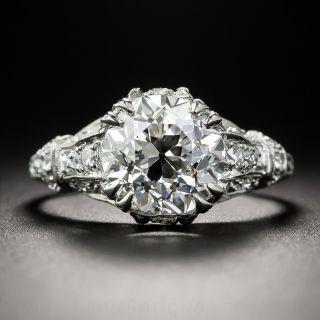 3.12 Carat Diamond Art Deco Engagement Ring - GIA F VVS1
