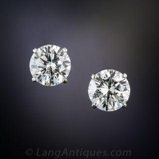 3.12 Carat Diamond Stud Earrings: GIA - G-VS1 & H-VVS1