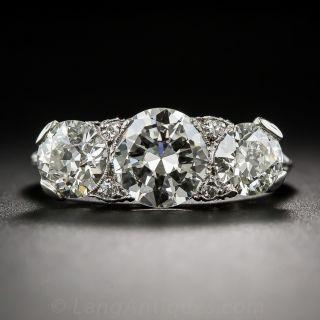 3.15 Carat Three-Stone Diamond Art Deco Platinum Ring - 1