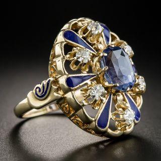 3.25 Carat No-Heat Ceylon Sapphire, Diamond and Enamel Victorian Style Ring