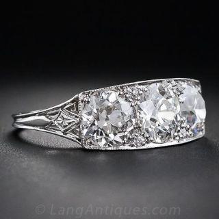 3.27 Carat Total Weight Art Deco Three-Stone Diamond Ring